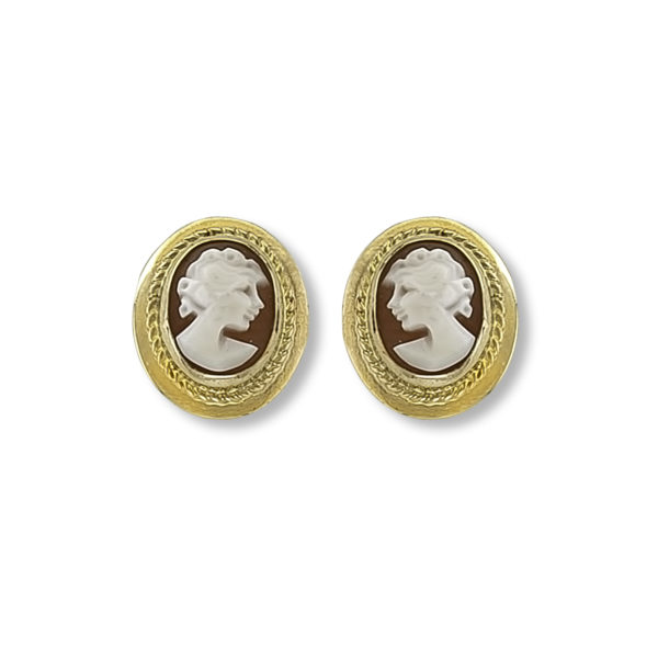 14K yellow Gold hand carved cameo Earrings.