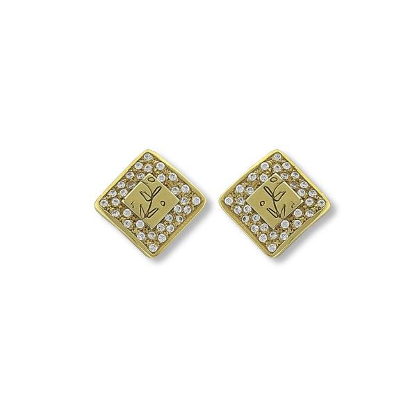 14K yellow Gold, vintage handmade Olive branch earrings.