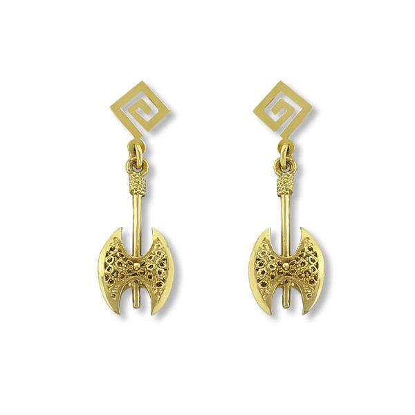 14K Gold, handmade, Greek key and double axe earrings.