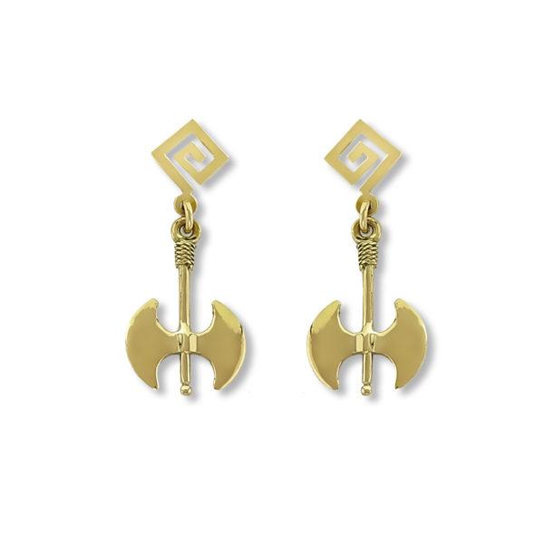 14K Gold, handmade, Greek key and double axe earrings.