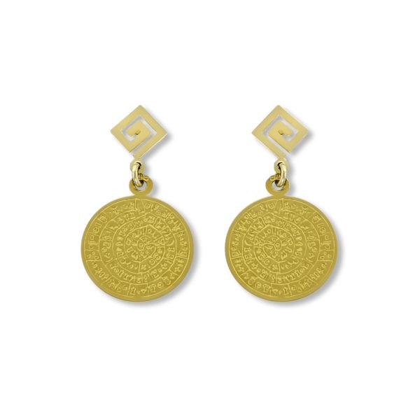 14K Gold, handmade Greek key and Phaistos Disk earrings.