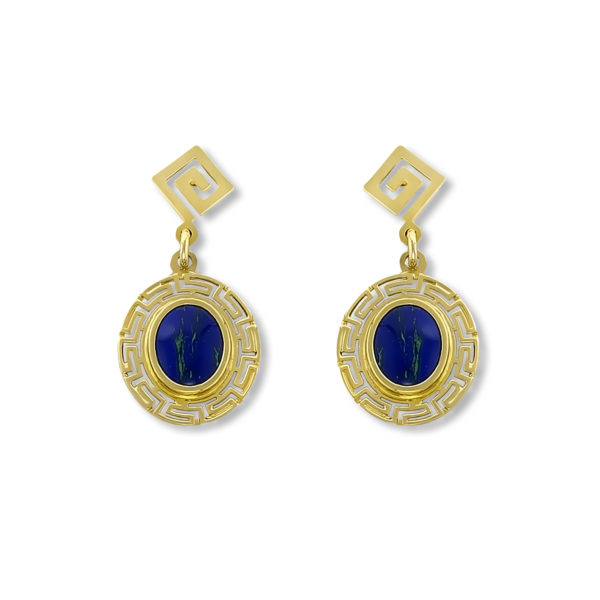 14K Gold, handmade Greek key and Lapis lazuli earrings.