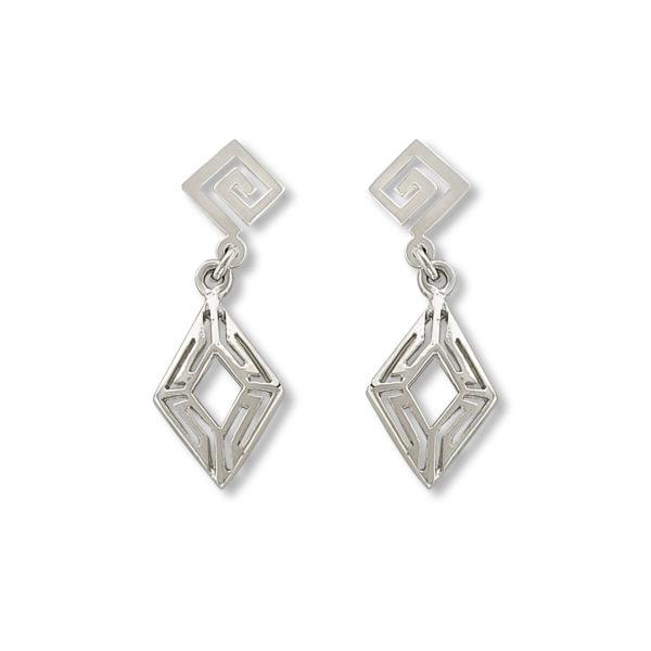14K white Gold, handmade, Greek key design earrings.