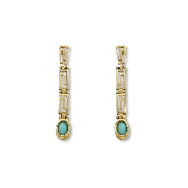 14K Gold, handmade, tirquoise stone earrings with Greek key.