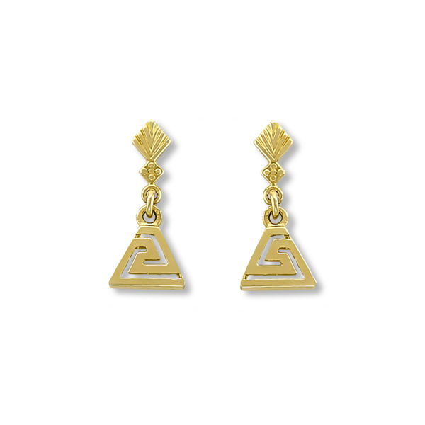 14K Gold, handmade, Greek key earrings.