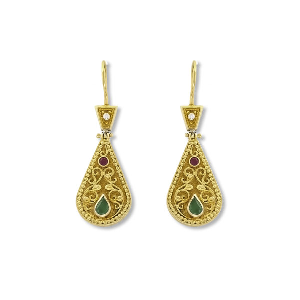 18K Gold handmade, Byzantine earrings with Emeralds, Rubies and Diamonds.