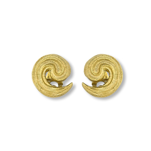 18k gold handmade byzantine spiral earrings.