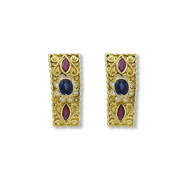 18K Gold handmade, Byzantine earrings with Saphires, Rubies and Diamonds.