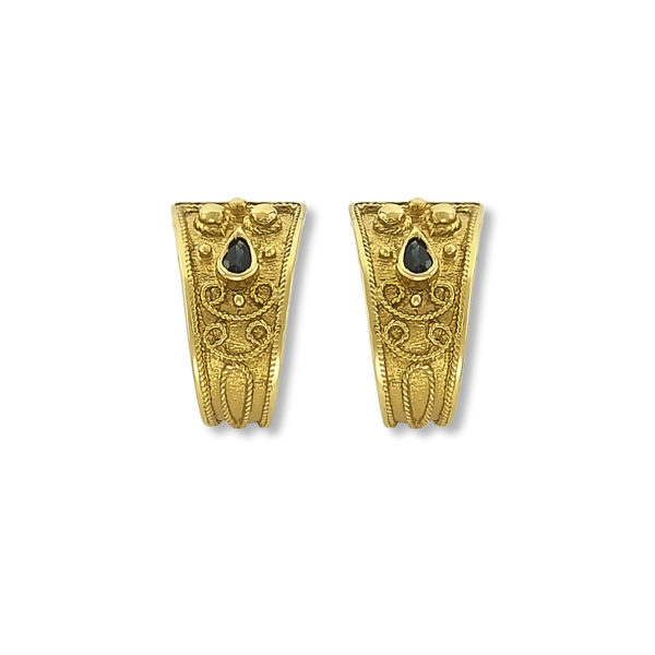 14K Gold handmade Byzantine earrings with Saphire.