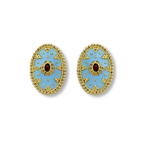 18K Gold handmade enamel earrings.