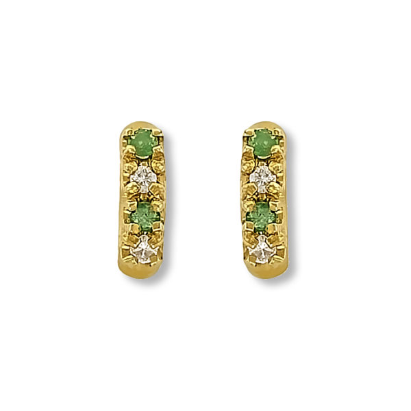 18k gold Diamonds and Emeralds earrings.