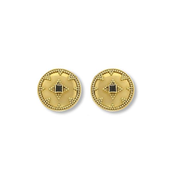 18k gold handmade byzantine earrings with Saphire.