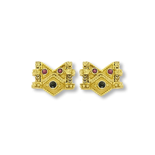 18K Gold handmade, Byzantine earrings with Sapphires and Rubies.