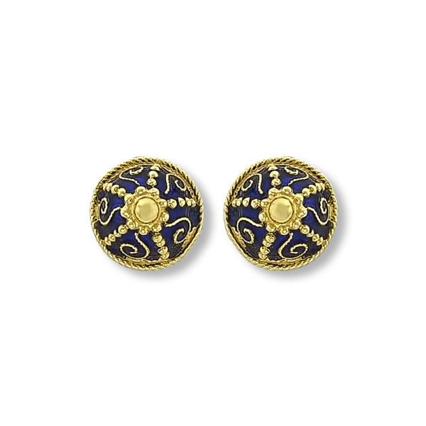18K Gold, handmade Byzantine earrings.