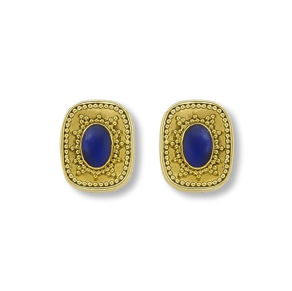 18K Gold, handmade unique Lapis lazuli earrings.