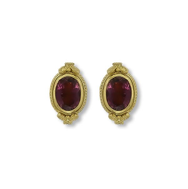 18K Gold, handmade, Byzantine, Tourmaline earrings.
