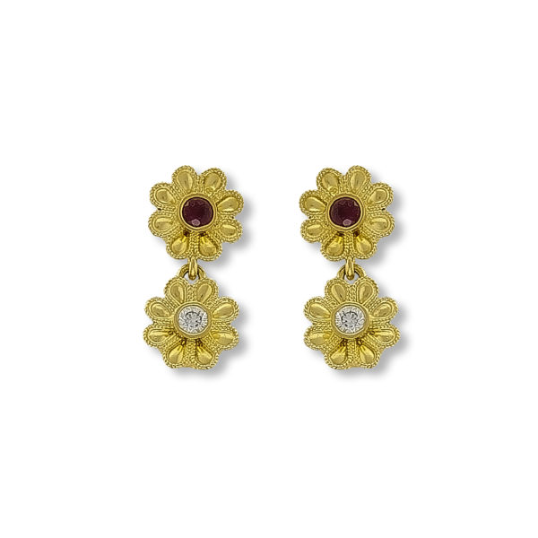 18K Gold, Byzantine, handmade, earrings with Rubies and Diamonds.
