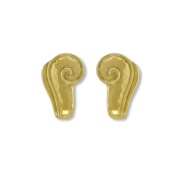 18K Gold handmade Greek Spiral earrings.