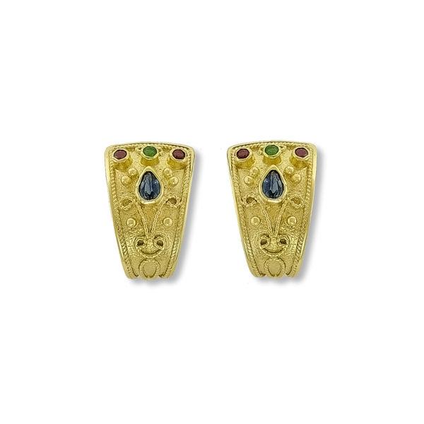 14k Gold Byzantine Earrings.