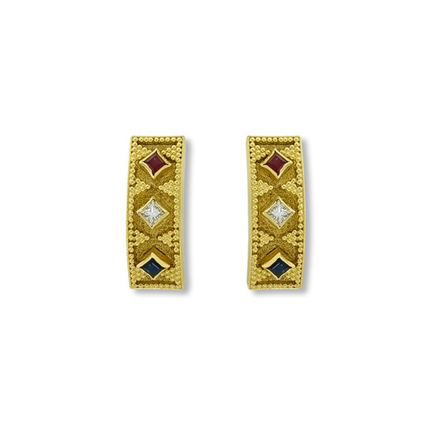 18K Gold handmade, Byzantine earrings with Sapphires, Rubies and Diamonds.