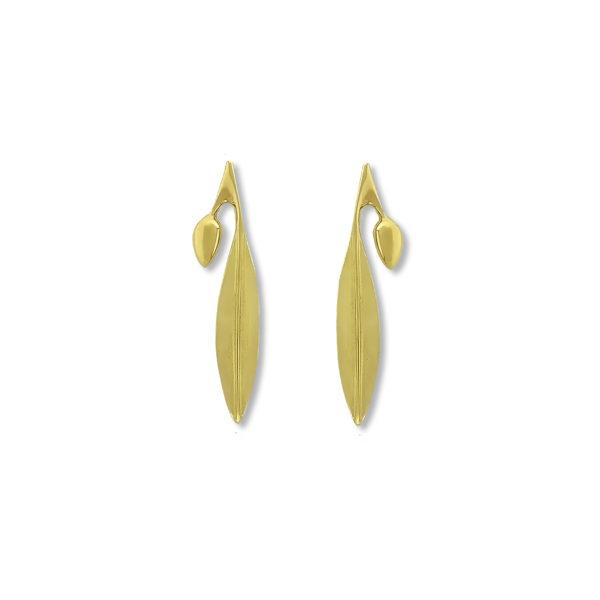 18K Gold, handmade, olive leaf earrings.