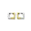 18K white & yellow Gold, handmade, Diamond & Ruby, double sided earrings.