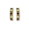 18K yellow Gold, handmade, Diamond & Ruby earrings.