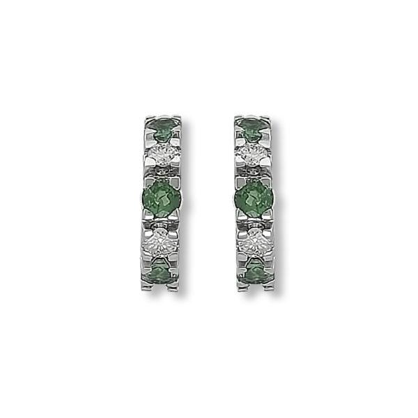 18K white Gold, handmade, Diamonds & Emeralds earrings.