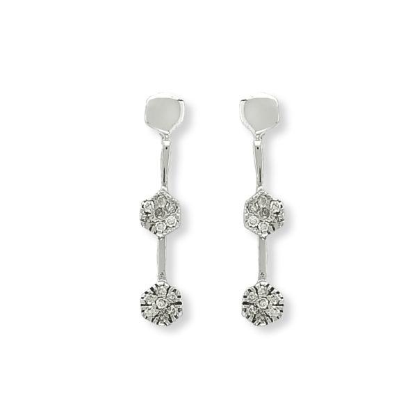 18K white Gold, handmade, Diamonds long earrings.