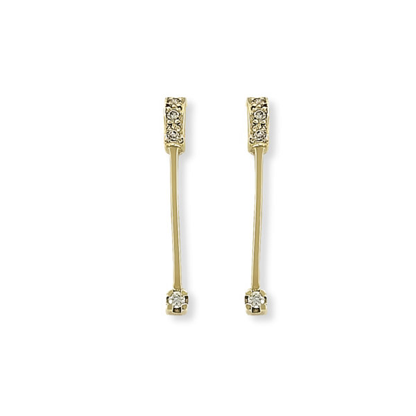 18K yellow Gold, handmade, Diamonds long earrings.