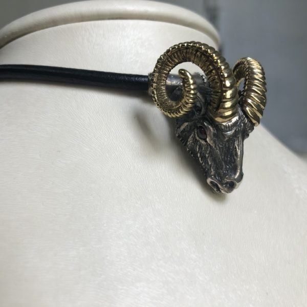 Silver 925, handmade Ram head necklace, Gold-plated with Tourmaline stone eyes and leather cord included.