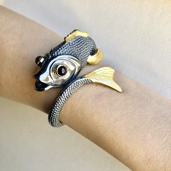 St. Silver and Gold Plated, handmade fish bracelet with Tourmaline stones.