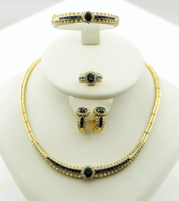 18K Gold, handmade, Diamond and Saphire set of Necklace, Bracelet, Ring and Clip Earrings.