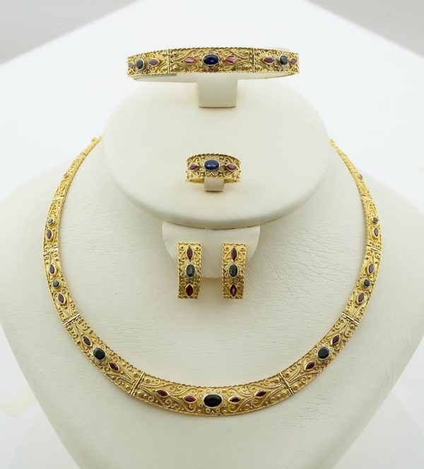 18K Gold, handmade, Byzantine set of necklace, bracelet, ring and earrings with Saphires, Rubies and Diamonds.