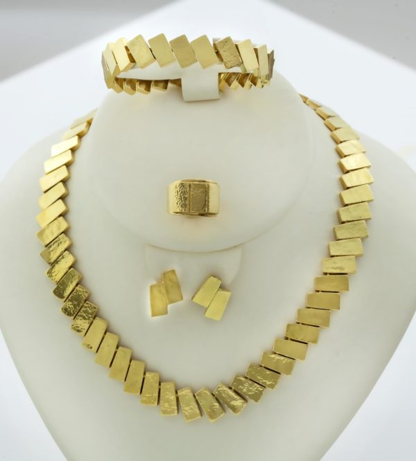 18K Gold handmade set of necklace, bracelet, ring and earrings.