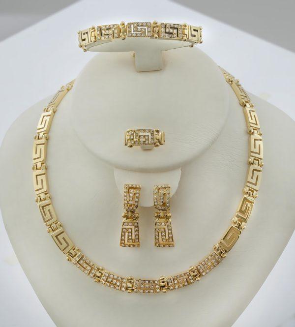 18K Gold, handmade, Greek key set with Diamonds.