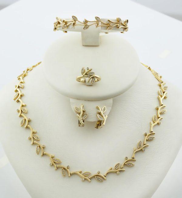 18K Gold, handmade, olive tree leaf, necklace with Diamonds.