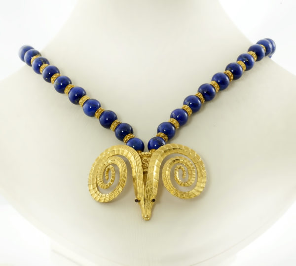 18K Gold, Golden Fleece necklace with lapis lazuli stone and Rubies.