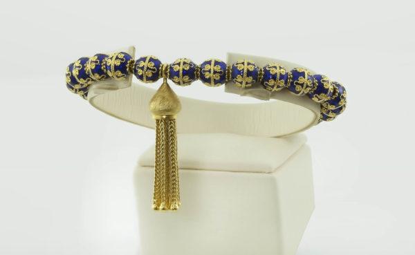 18K Gold, handmade, Blue Enamel, Byzantine bracelet.