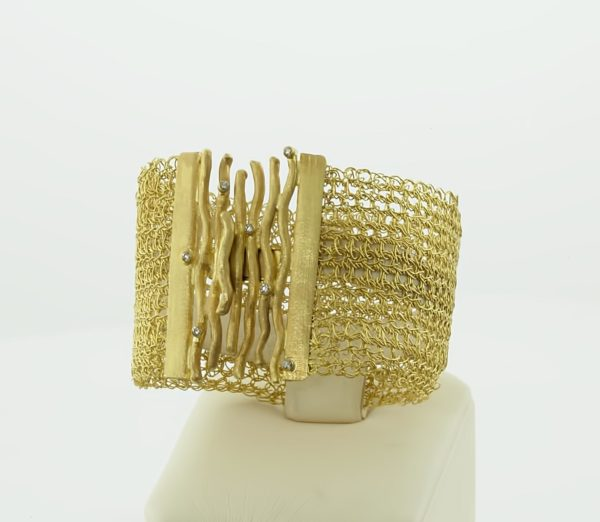 18K Gold, handmade bracelet with Diamonds.