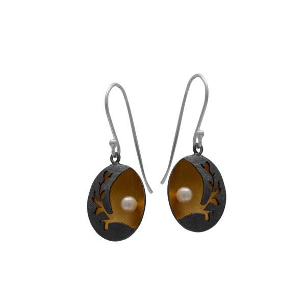 Silver 925. handmade, earrings with genuine pearls.