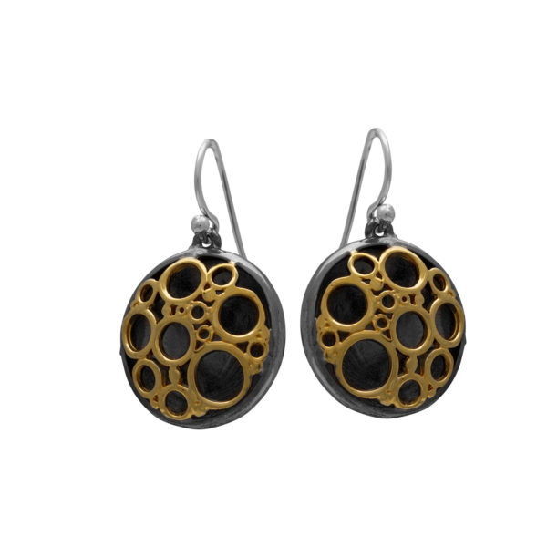 Silver 925, oxidized, gold-plated, handmade earrings.