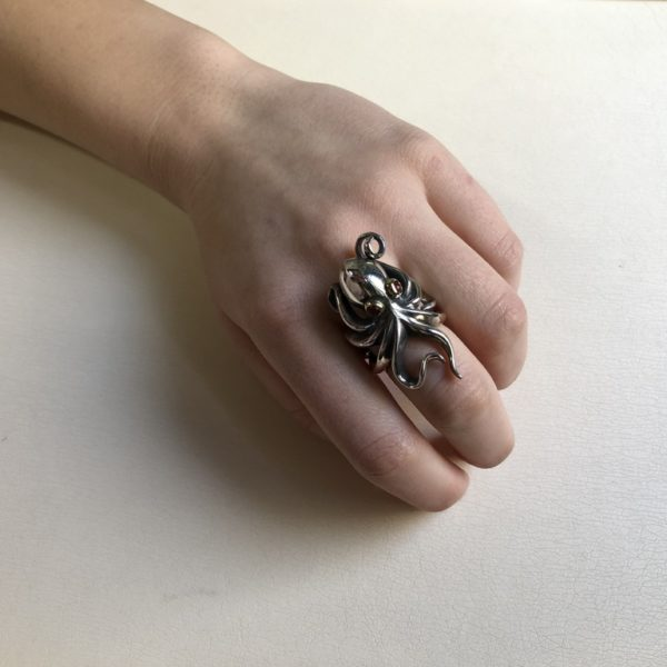 Silver 925, handcrafted octopus ring with Tourmaline eyes.