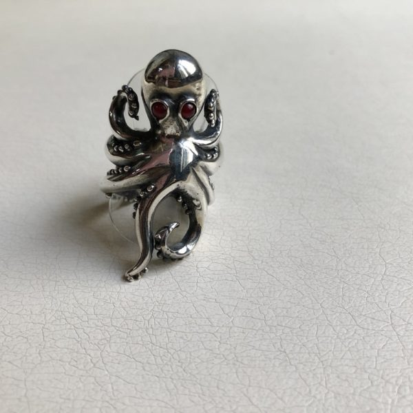 Silver 925, handmade octopus ring with Tourmaline stones.