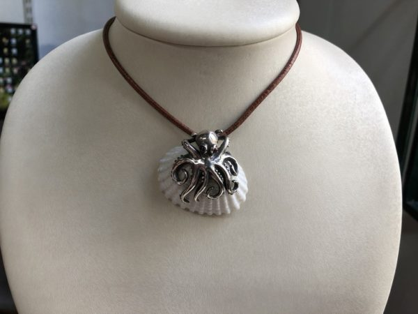 Silver 925, handmade octopus with real sea shell, Tourmline stones and leather cord.