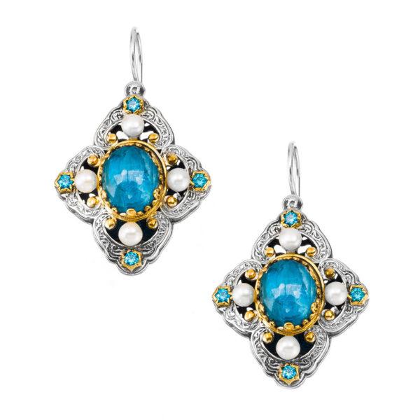 Gerochristo Sterling Silver & Stones - Medieval Doublet Dangle Earrings