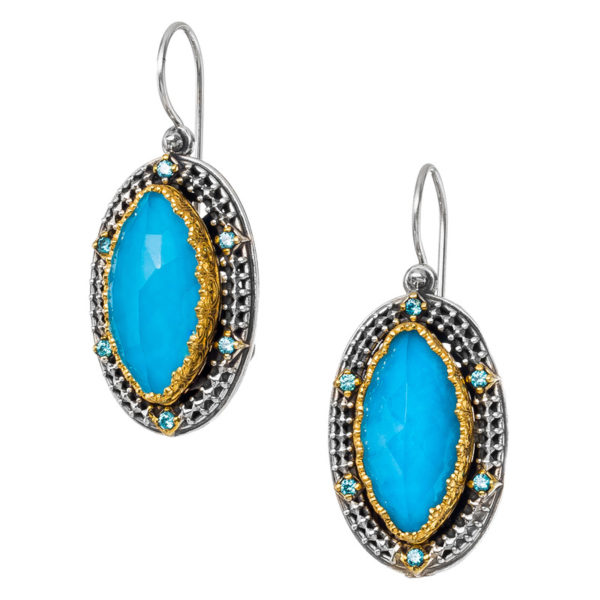 Gerochristo Sterling Silver & Turquoise Stones - Medieval Doublet Dangle Earrings