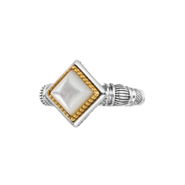 Gerochristo Sterling Silver & Stone Medieval Doublet Solitaire Ring