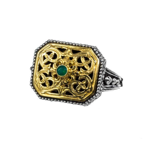Gerochristo Sterling Silver & Green Onyx Medieval-Byzantine Ring