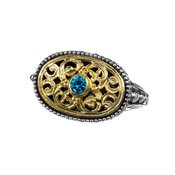 """<span style=""""color: #000000"""">Sterling Silver & Zircon Medieval-Byzantine Oval Ring</span>"""